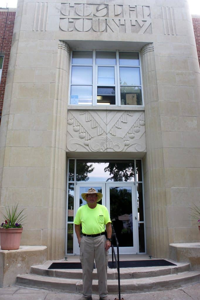Mike Snyder in front of Gosper County Courthouse